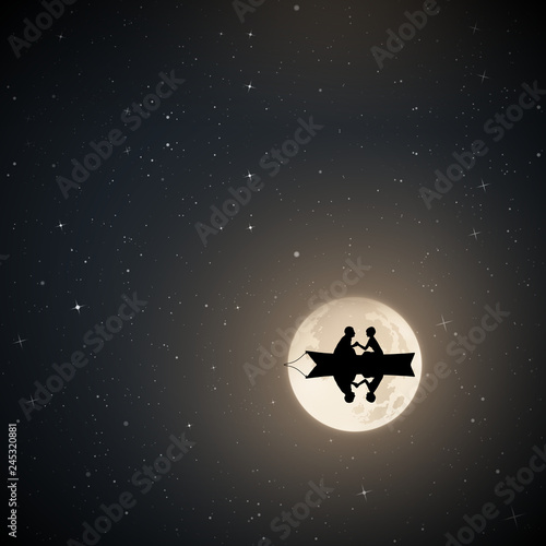 Fotografie, Obraz Lovers in boat on moonlit night