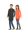 Couple Walking and Hugging Isolated People Vector