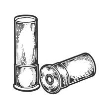 Shotgun Hunting Firearms Cartridge Engraving Vector Illustration. Scratch Board Style Imitation. Black And White Hand Drawn Image.