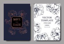 Vector Blue And Golden Peony Botanical Flower. Engraved Ink Art. Wedding Background Card Floral Decorative Border.