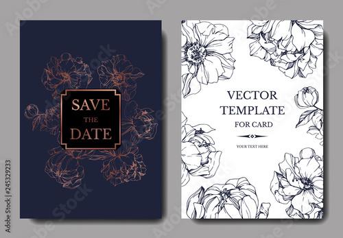 Fototapeta Vector Blue and golden peony botanical flower