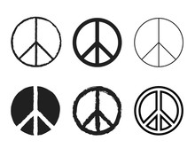 Set Of Round Peace Sign. Nucle...