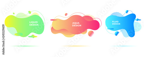 Abstract liquid shapes. Organic flowing forms. Vivid fluid backgrounds. - 245329609