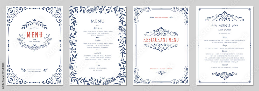 Fototapety, obrazy: Ornate classic templates set in vintage style. Wedding and restaurant menu.