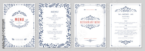 Poster Restaurant Ornate classic templates set in vintage style. Wedding and restaurant menu.