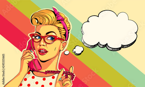 Beautiful pin up girl on telephone vector illustration in pop art style фототапет