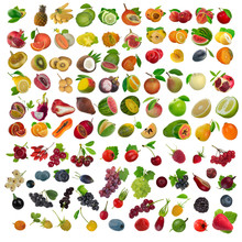 Set Of Berries And Fruits Isol...