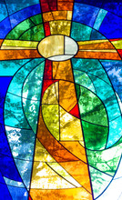 Stained Glass Cross In Bright ...