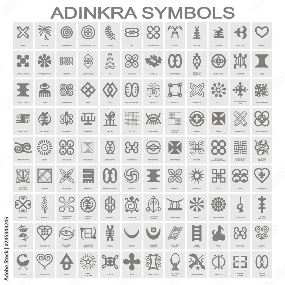 Fototapeta set of monochrome icons with adinkra symbols for your design - obraz na płótnie