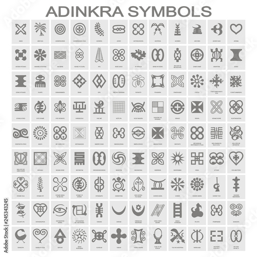Fotografía  set of monochrome icons with adinkra symbols for your design