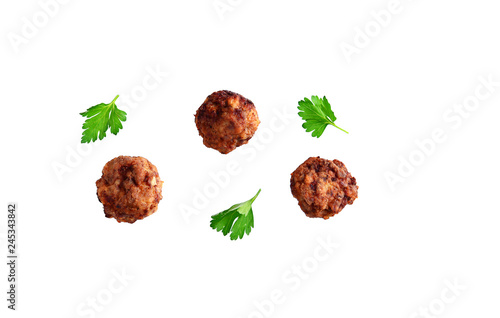 Fototapeta Homemade beef meatball isolated on white obraz