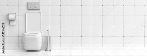Fotografia  White toilet bowl and accessories on tiled wall and floor background, banner