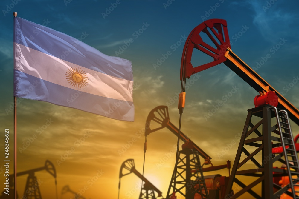 Fototapety, obrazy: Argentina oil industry concept. Industrial illustration - Argentina flag and oil wells against the blue and yellow sunset sky background - 3D illustration