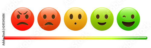 Photographie  Mood meter, scale, from red angry face to happy green emoji, colorful banner for