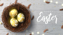 Happy Easter Holiday Greeting Banner. Beautiful Background With Realistic Wicker Nest, White Golden Eggs, Sparkling Gold Confetti, Shining Garland And Chicken Feathers. Holiday Vector Illustration.