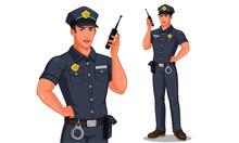 Police Officer In Standing Pose Talking On Walkie-talkie Radio Vector Illustration