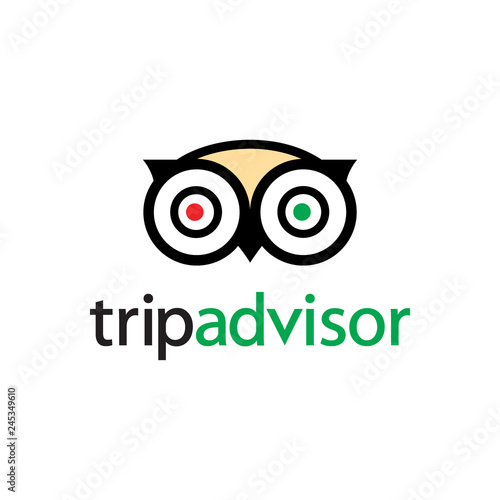 Owl Logo vector. web icon - Portal with hotel travel reviews and tips
