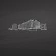 Athens Greece signs on blackboard