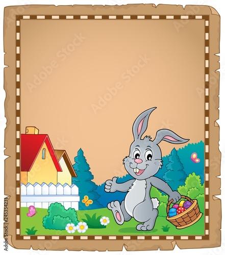 Staande foto Voor kinderen Easter rabbit theme parchment 1
