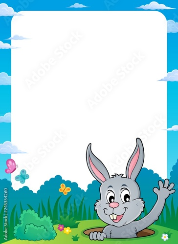 Poster Voor kinderen Frame with lurking Easter bunny theme 1