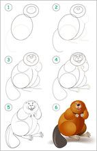Educational Page For Kids Shows How To Learn Step By Step To Draw A Cute Beaver. Back To School. Developing Children Skills For Drawing And Coloring. Vector Cartoon Image.