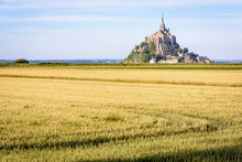The Mont Saint-Michel Tidal Island In Normandy, France, Seen From A Path Between Cultivated Fields In The Polders At The End Of The Day With Wheat Fields In The Foreground.