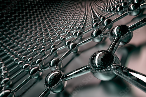 Photo  3D rendering of graphene surface, black atoms and bonds with carbon glossy struc