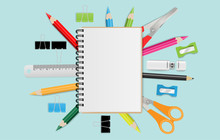 Blank Notebook With School Sup...