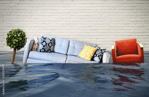 Obraz Hochwasser und Wasserschaden im Haus - fototapety do salonu