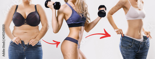 Fotografie, Obraz  Woman's body before and after weight loss on background