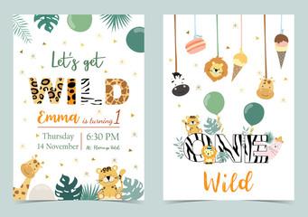 Green birthday card with tiger,giraffe,zebra,llama,lion,ice cream and balloon