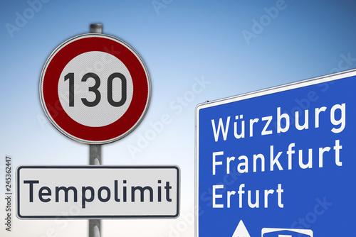 Photo  Tempolimit, 130, auf Autobahnen, Symbolbild