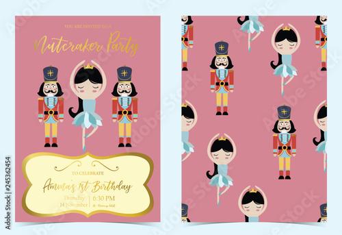 Fotografía  Pink blue birthday invitation with nutcracker,princess,ballet and solider