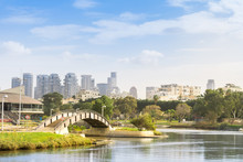 View Of Yarkon Park Against Skyline Of Tel Aviv, Israel.  Cityscape, Landscape Background.