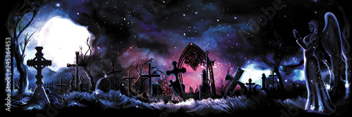 Fotografie, Tablou Banner with enchanted old cemetery / Background with a graveyard and a praying angel illuminated with a magic light from a mysterious portal