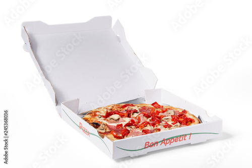 Pizza delivery box on white with clipping-path