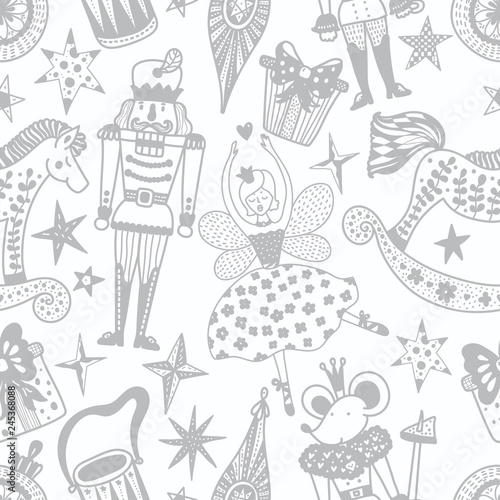Fotografía  Christmas vector seamless Nutcracker pattern