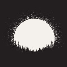 Forest Silhouette On Moonrise Background