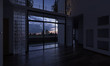 Unfurnished Home Interior with a View at Sunset 3D Rendering