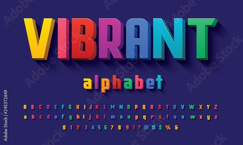 Fotografie, Tablou Vector of modern 3D bold alphabet design