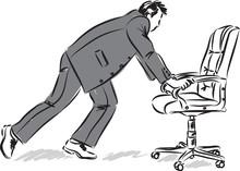 Businessman Pushing Chair Vector Illustration