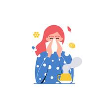 Cold, Flu. Girl With Handkerchief Vector Illustration