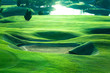 canvas print picture - Golf course beautiful turf and putting green, Golf course in Thailand.