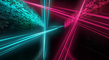Abstract Arch, Tunnel, Corridor, Neon Light, Rays. 3d Illustration