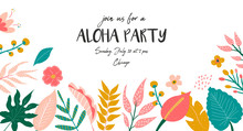 Trendy Summer Tropical Banner For Aloha Party