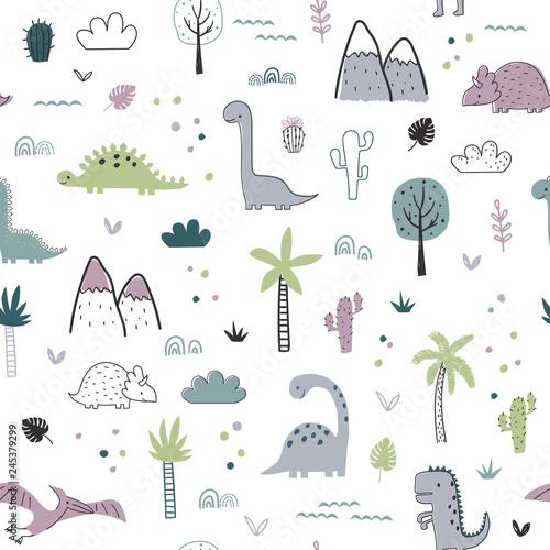 fototapeta na drzwi i meble Seamless pattern with dinosaurs