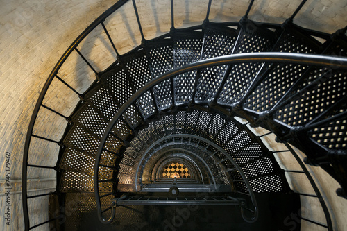 Spiral staircase inside the St. Augustine Lighthouse in St. Augustine, Florida