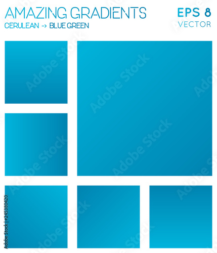 Colorful gradients in cerulean, blue green color tones. Adorable gradient background, fresh vector illustration.