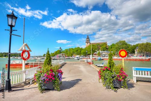 Foto auf Gartenposter Skandinavien Seafront with wharf at small resort town Naantali. Finland