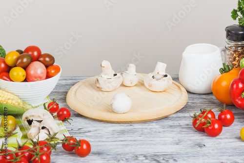 Fotografie, Obraz  Still life from colored vegetables and mushrooms, blurred background